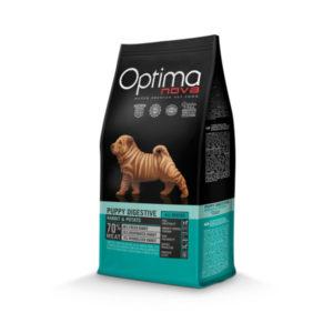 Optimanova Puppy Digestive Rabbit & Potato - karma bezglutenowa lekkostrawna dla szczeniąt